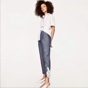 Zara Chambray Trousers with Lace Appliqué Size S